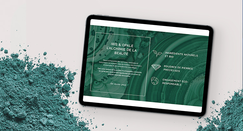 iPad with green Malachite gemstone powder