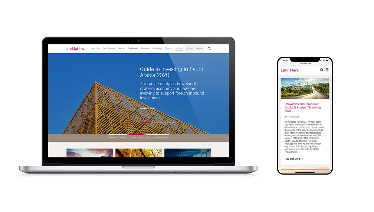 Linklaters homepage in different viewport
