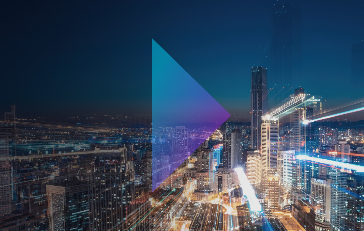 cityscape with an arrow graphic